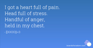 ... heart full of pain. Head full of stress. Handful of anger, held in my