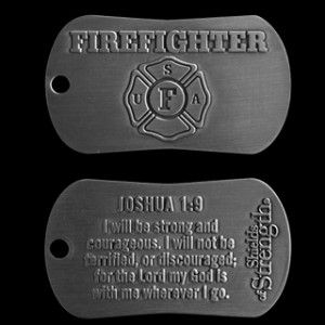 firefighter dog tag chain necklace antique finish