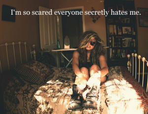 bedroom, everyone, girl, hate, i hate you, quote, scared