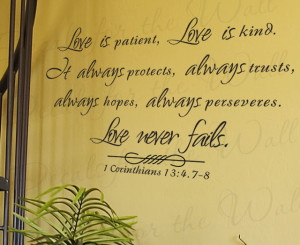 Wall Decal Sticker Quote Vinyl Large Love is Patient Kind Corinthians ...