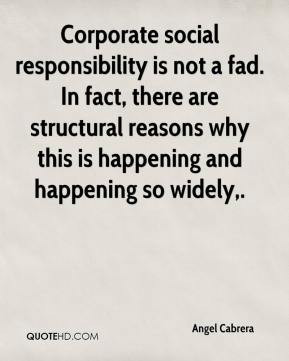 Angel Cabrera - Corporate social responsibility is not a fad. In fact ...