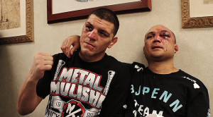 nick diaz and bj penn side by side beat up -mma fighter picture