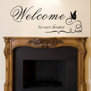 WELCOME TO OUR HOME Wall Quote Sticker Decal Removable Vinyl Home ...