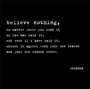 Believe nothing unless it agrees with your own reason. ~Buddha