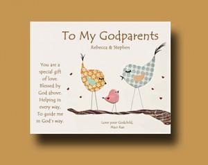 ... Godmother and Godfather - Gift from Godchild - Godparents Baptism