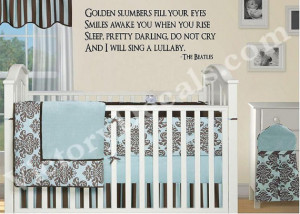 Vinyl Quote for Baby's Nursery - Beatles Golden Slumbers - 23x9 - Baby ...