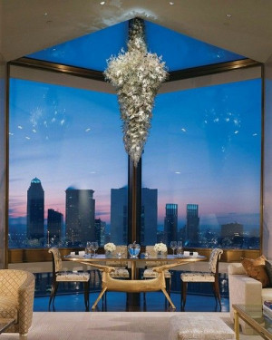 view to die for and Chihuly glass chandelier.: Dining Rooms, Ty Warner ...