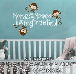 1107 no more monkeys kids wall decal ten little monkeys jumping on the ...