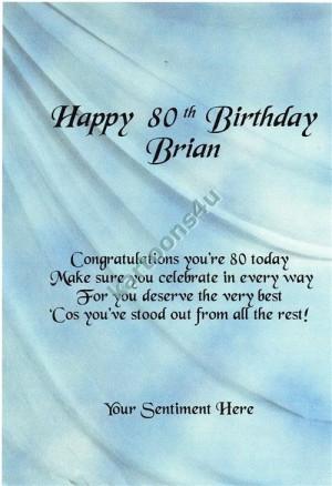 80th Birthday - 2 - Personalised Greeting