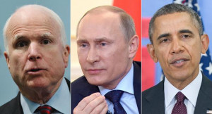 John McCain (left), Vladimir Putin and Barack Obama are pictured in ...