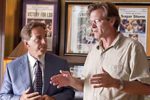 Alabama coach Nick Saban talks on set with director John Lee Hancock ...