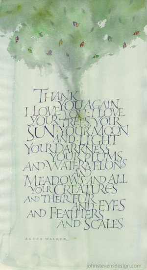 written in roman capitals on watercolor with watercolor