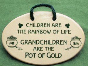 Irish saying on ceramic plaque. Children are the rainbow of life ...