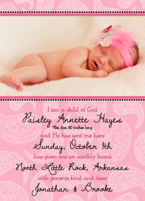 Cute Baby Announcement Sayings . 1,000 baptism invitations, birth turn ...