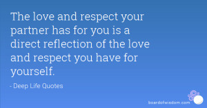 The love and respect your partner has for you is a direct reflection ...