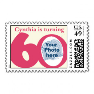 Turning 60 birthday girls photo stamp