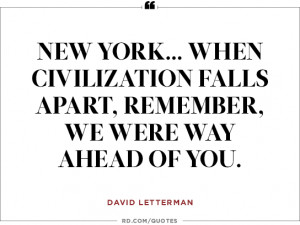 David Letterman on spring in New York...