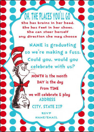 Dr Seuss Graduation Invitation DIY Party by SweetEscapery on Etsy, $10 ...