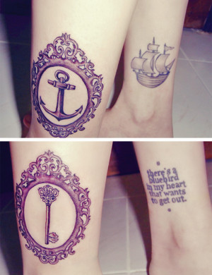 anchor, key, photography, quote, tattoo