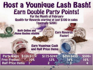Younique Party Royalties Points Chart