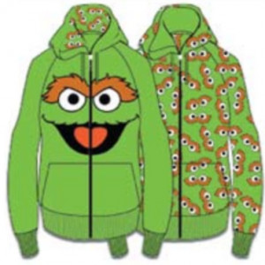 Oscar The Grouch Face Sesame Street Reversible Hoodie