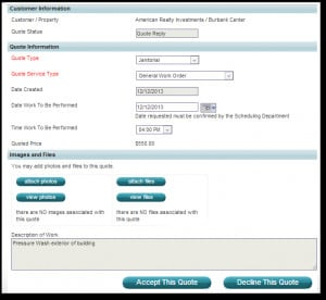 Janitorial Bid Software,eQuest Quote feature for Bidding & Estimates