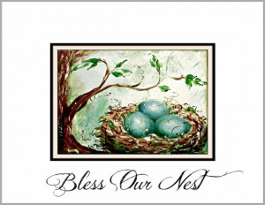 Bird Nest baby bird robin eggs quote print spring wall art blue brown ...