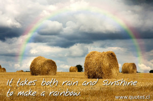 The quote - It takes both rain and sunshine to make a rainbow