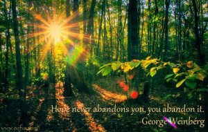 Quote for Today: Hope never abandons you, you abandon it. –George ...
