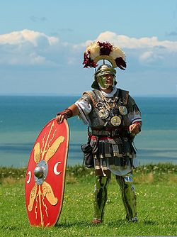 photograph of an actor in roman centurion costume
