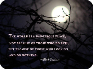 ... evil, but because of those who look on and do nothing. ~Albert