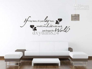 ... Flower Wall sticker with Black Romantic Quotes Vinyl Home Decoration