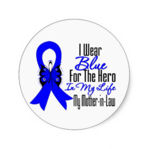 Colon Cancer Ribbon Hero My Mother in Law Round Sticker