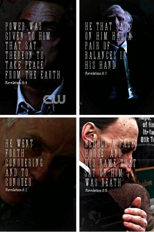 The Four Horsemen. War, Famine, Pestilence, and Death. #Supernatural