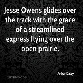 Jesse Owens glides over the track with the grace of a streamlined ...