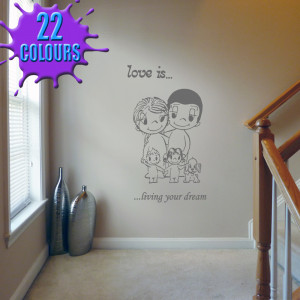 Dark Grey Love Is Quote 7 decal on a landing wall