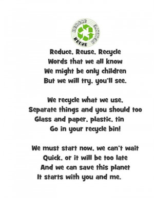 reduce reuse recycle words that we all know we might