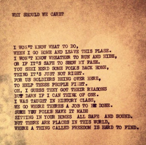 Why should we care? - A poem by an American soldier in Vietnam. May ...