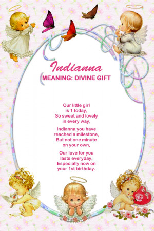... Colour (angel theme), A4 portrait 1st Birthday poem personalised with
