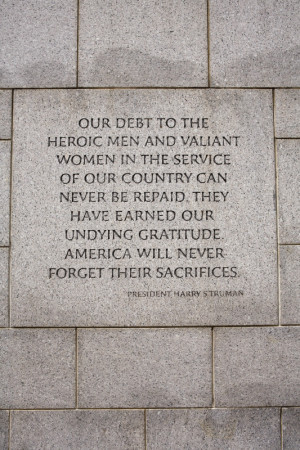 quote from President Harry S Truman on a wall at the National