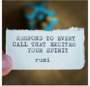 ... to every call that excites your spirit ~ rumi #socialgood #quotes