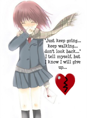 sad anime girl crying with quotes