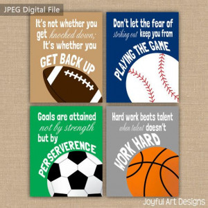 Boy Room Sports Decor. Set of 4 Motivating Sports Quotes PRINTABLE ...