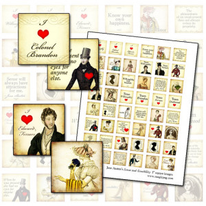 Jane Austen Sense and Sensibility 1x1 inchies digital collage sheet 25 ...