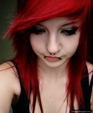 Sad, emo, girl, red, hair, piercing