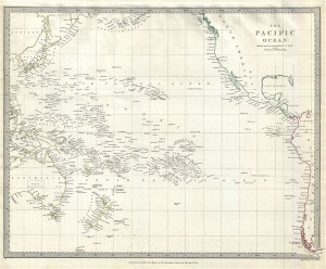 1840 S D U K Map of the Pacific Ocean including Polynesia Melanesia