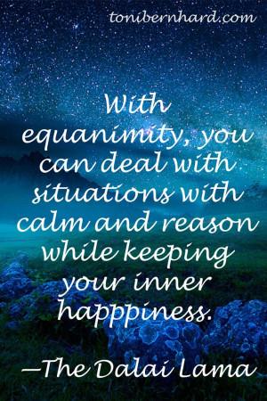 The Dalai Lama on equanimity...
