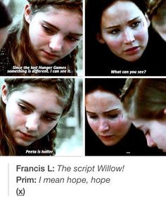 ... Hunger Games Humor / Willow / Prim / Katniss / Peeta / Catching Fire