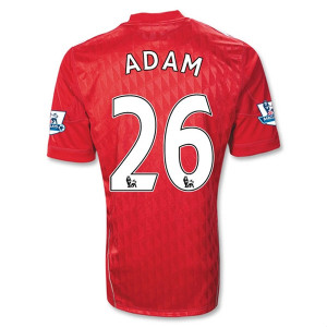 12 Liverpool FC Home No26 Charlie Adam Soccer Jersey Football Shirt