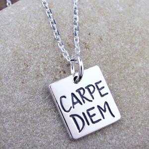 Carpe Diem Necklace - Latin Quote Jewelry - Inspirational Charm